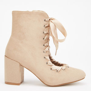Kawaii Open Front Ribbon Lace chunky heel Boots